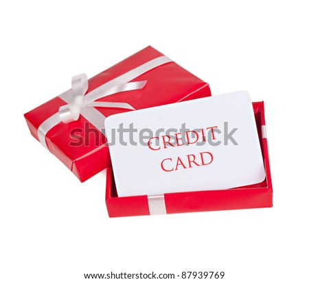 blank for credit card in a gift box