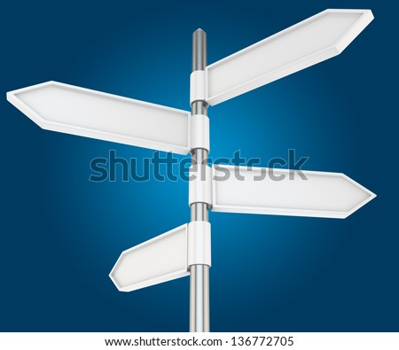 Blank four way guide pointer sign - stock photo