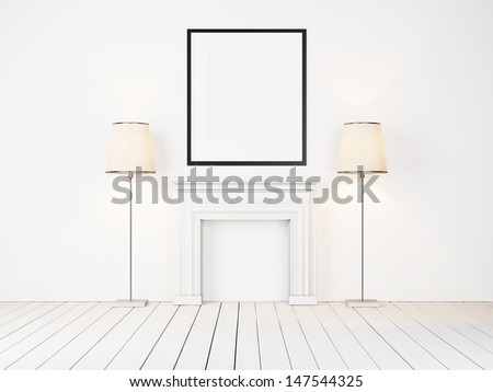 blank frame and lamps - stock photo