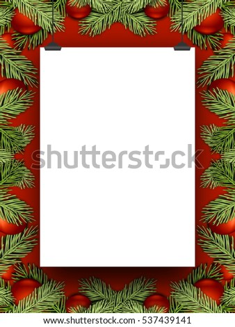 Blank frame hanged by clips against red background enclosed by red Christmas ornaments and leaves
