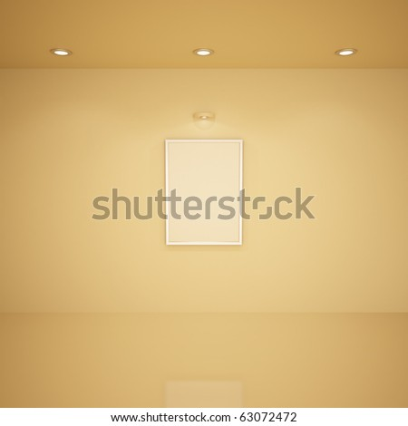 Blank frame in empty room, 3d illustration - stock photo