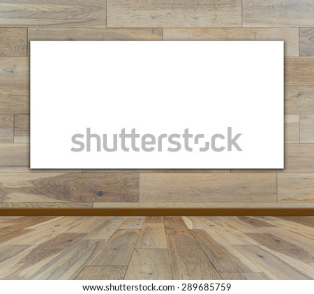 Blank frame in wood room - stock photo