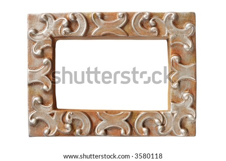 Blank frame isolated on white background. (with clipping path) - stock photo