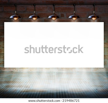 Blank frame on brick wall and glass floor for information message - stock photo