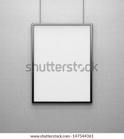 blank frame on grey wall - stock photo