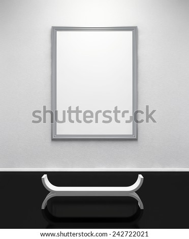 Blank Frame on the Wall. Clipping path - stock photo