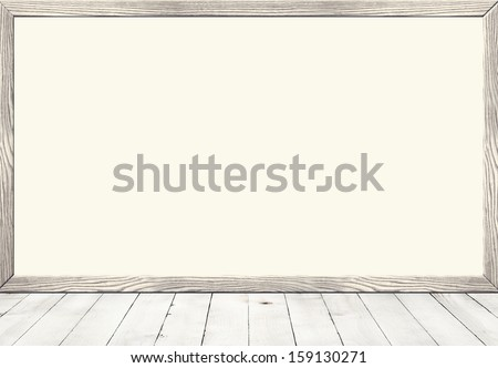 Blank Frame on Vintage Wood Background. Old Art Box on Wooden Wall. Retro Frame, old interior. Frame in Vintage Style. Wooden Surface, old wooden plank. Blemish, Grunge, Grain Surface. Closeup view. - stock photo