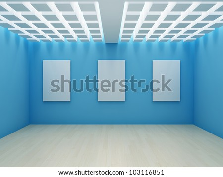 Blank frame on wall in modern hall - stock photo