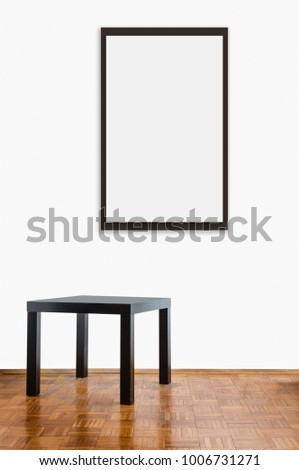 Blank frame template in home interior