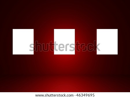 Blank frames in a dark red room - stock photo