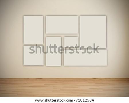 Blank frames in art gallery - stock photo