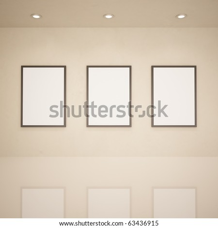 Blank frames in art gallery, 3d illustration - stock photo
