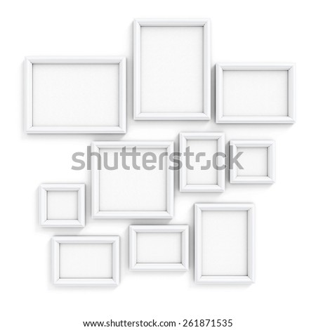 Blank frameworks of the different size for pictures and photos on a wall. 3d illustration. - stock photo
