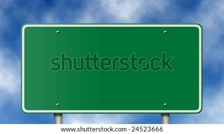Blank freeway sign against a blue sky. - stock photo