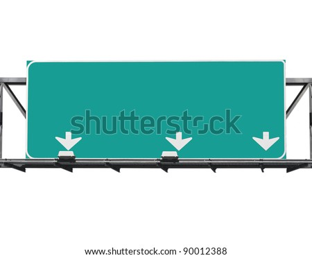 Blank freeway sign isolated on white. - stock photo
