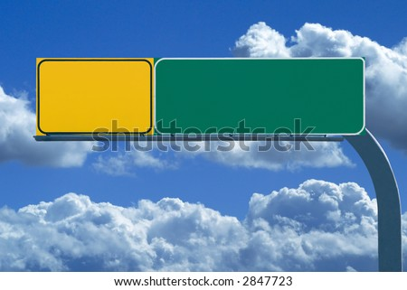 Blank freeway sign ready for your custom text - stock photo