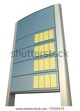Blank gas station price sign. 3D render. - stock photo
