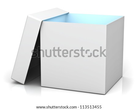Blank gift box with cover and blue light inside the box isolated over white background with reflection - stock photo