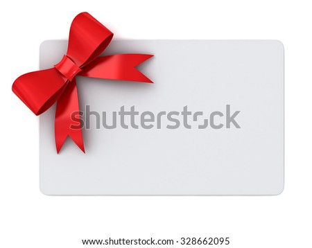 Blank gift card with red ribbons and bow concept isolated on white background - stock photo