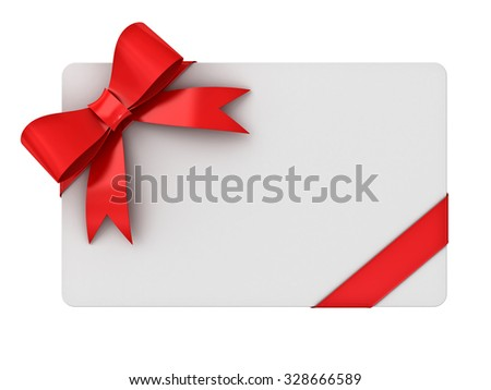 Blank gift card with red ribbons and bow isolated on white background - stock photo