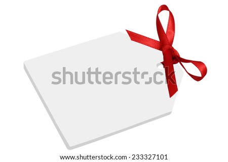 Blank gift or price tag with bow and copyspace - stock photo