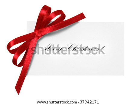 Blank gift tag tied with a bow of red satin ribbon. Isolated on white - stock photo