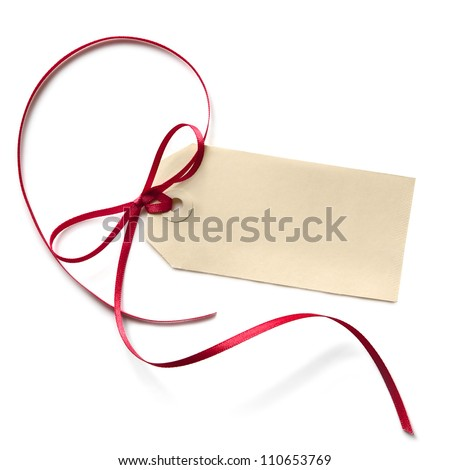 Blank gift tag with a red ribbon bow, isolated on white. - stock photo