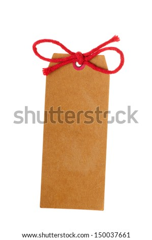 Blank gift tag with red bow isolated on white - stock photo