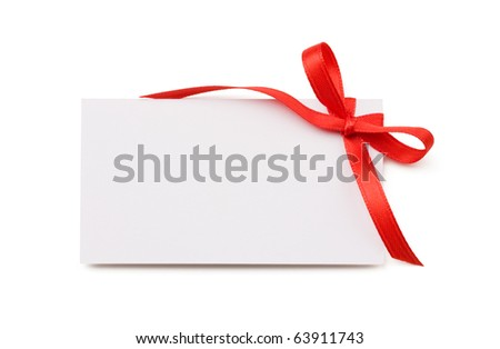 Blank gift tag with red bow isolated on white with soft shadow. - stock photo