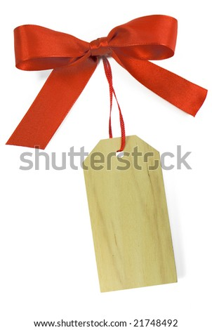 Blank gift wood tag tied with a bow of red satin ribbon. Isolated on white, with soft shadow.