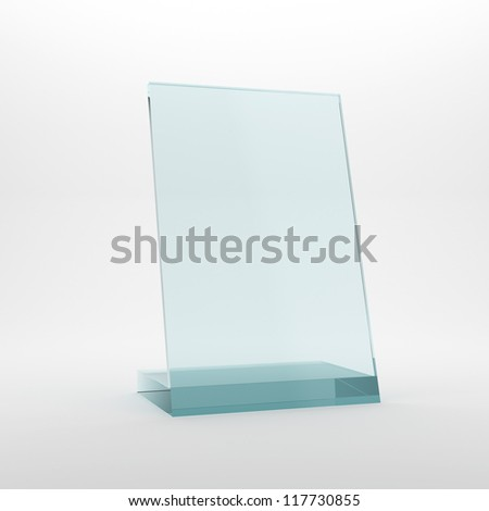 Blank glass award plate - stock photo