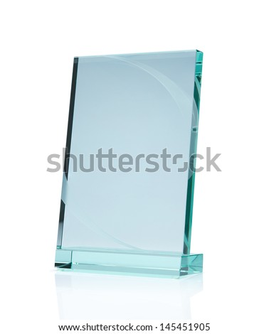 Blank glass award plate isolated on white background with clipping path and copy space - stock photo