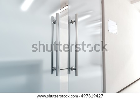 Blank Glass Door Metal Handles Mock Stock Illustration