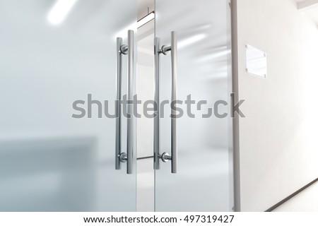glass door. Blank Glass Door Metal Handles Mock Stock Illustration 497319427 - Shutterstock