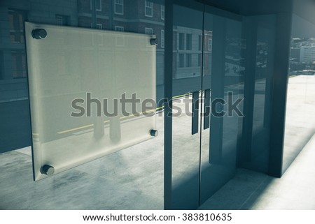 Blank glassy signboard on glassy wall of building, mock up, 3D render - stock photo