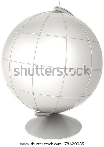 Blank globe desktop Earth planet with meridians colored grey. Geography education symbol classic. This is a detailed CG image 3D render. Isolated on white background - stock photo