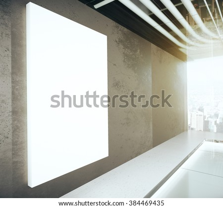 Blank glowing poster on the wall in modern empty room,  - stock photo