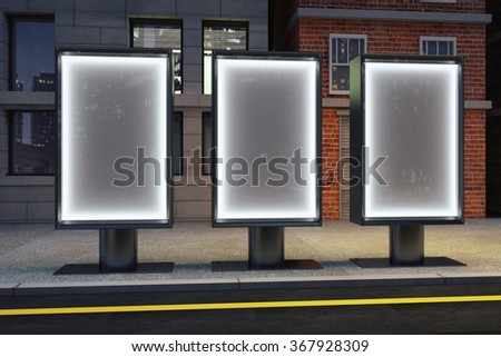 Blank glowing posters on empty night city streets, mock up 3D Render - stock photo
