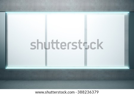 Blank glowing posters on the wall, mock up, 3D Render - stock photo