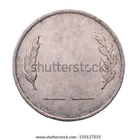 Blank gold and silver coin isolated on white background - stock photo