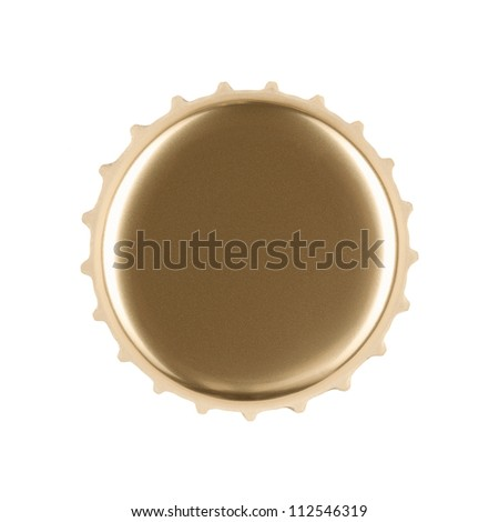 Blank gold bottle cap isolated on white background with clipping path - stock photo