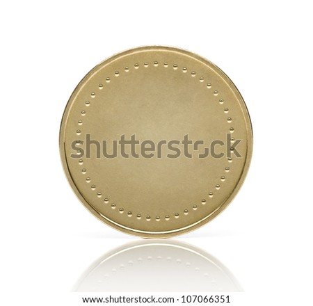 Blank gold coin or medal isolated on white background - stock photo