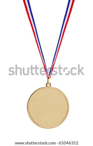 Blank gold medal with tricolor ribbon isolated on white background - stock photo