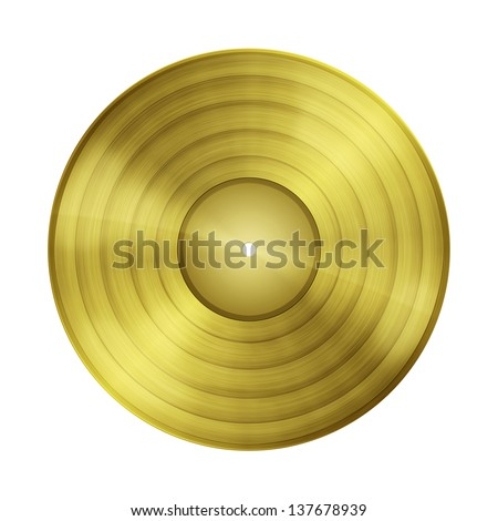 Blank gold record isolated on white background with clipping path and copy space - stock photo