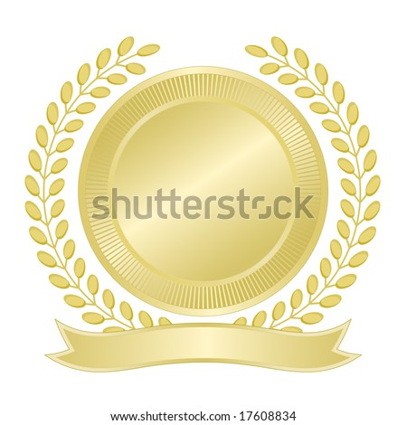 Blank gold seal with wreath of leaves and ribbon banner for award, quality assurance, anniversary, business, municipal, or commemorative use. Vector available.