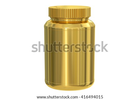 blank golden jar, 3D rendering isolated on white background