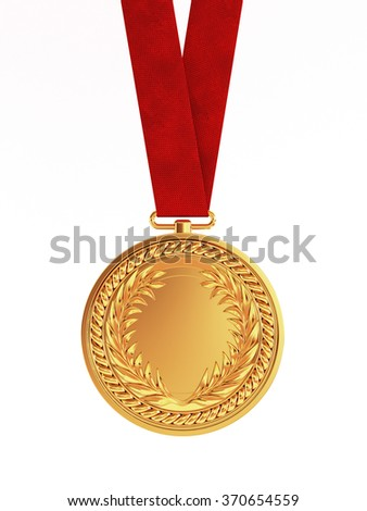 Blank golden medal with ribbon for first place championship isolated on white background - stock photo