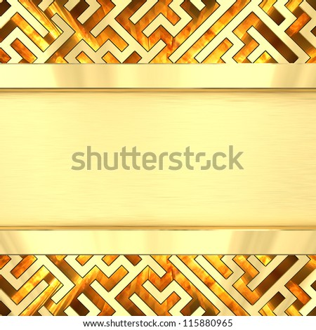 Blank golden plate on maze background with flame. High resolution 3D image - stock photo