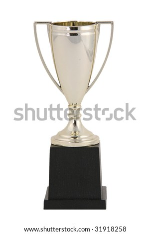 Blank Golden Trophy Isolated on White - stock photo