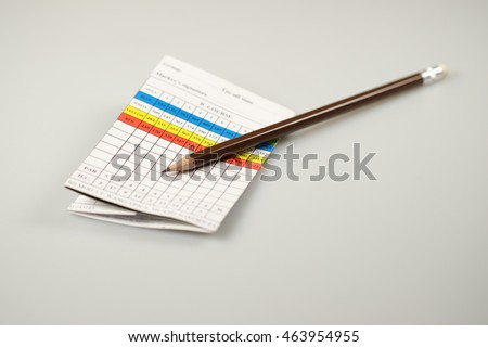Blank Golf Score Card with Pencil